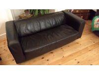 Black leather Ikea klippan sofa