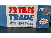 Box of 72 white glazed ceramic wall tiles 15x15cm covers 2 sq yards/ 1.67sq metres 3 boxes available