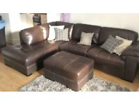 CORNER 3 SEATER SOFA BROWN LEATHER CHAISE and FOOT STOOL from WEEKES. SEATEE 3 Piece Suite