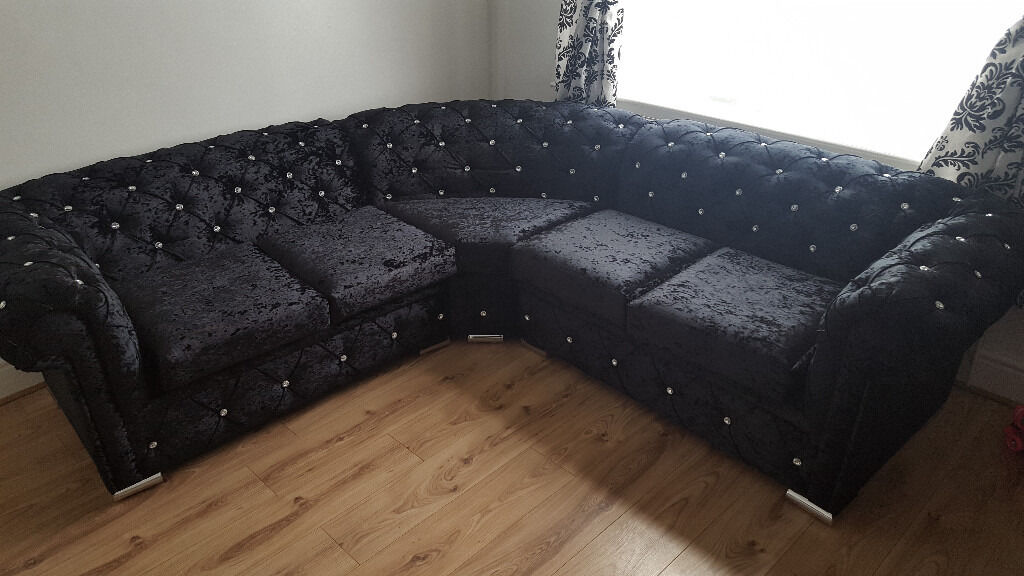 Chesterfield Corner Sofa In Black With Diamonds Any Colour Size