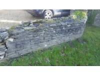 Purbeck stone wall / pond / rockery