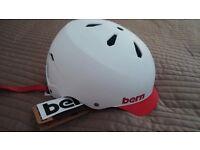 Unused BERN all weather skate/bike/board helmet size Large Matt white with red brim