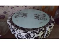 For sale glass table plus 4 textile chairs £ 85