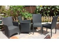 Set of 4 Black PU Rattan Chairs