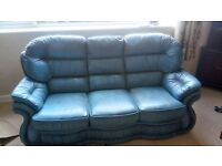 A beautiful leather 3 seater  settee and a reclining chair by Winchester Leather in Antique Blue.