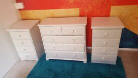 Solid Pine Chest of drawers and matching bedside tables (freshly painted and waxed to high standard)