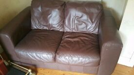 Brown leather sofas 2 & 3 seater sofas, quick sale £100ono