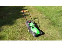 Electric lawnmower, height adjustable, grass basket
