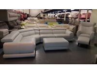 Iconica Vittorio corner sofa, club chair and 2 footstools in fossil leather
