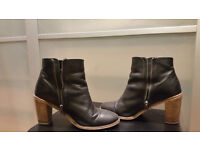 Ladies black leather ankle boots from Dune, size 6