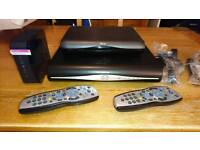 Sky HD boxes and cables router and remotes