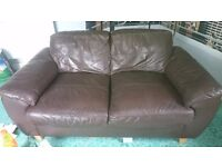 BROWN FAUX LEATHER SMALL 2XSEATER