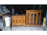 Oak glass door dresser
