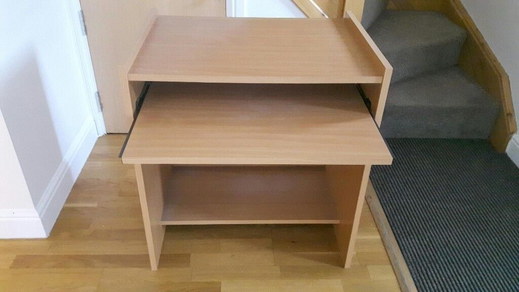 Small Desk In Light Wood Effect With Pull Out Keyboard Shelf