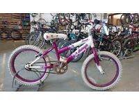 GIRLS RALEIGH KRUSH BIKE 18 INCH WHEELS WHITE/PURPLE GOOD CONDITION