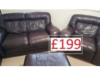 CSL Brown leather suite: 2 seater sofa + armchair + storage footstool
