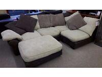 Brown Fabric Corner Suite w/Footstool
