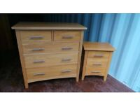 Solid Oak Quality Chest Of Draws And Bedside Table,Matching Wardrobe Available To