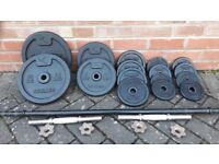 DOMYO CAST IRON WEIGHTS SET WITH BAR & DUMBBELLS