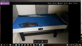6' x 3' Pool Table with 6 cues. Table in very good condition but 2 balls missing