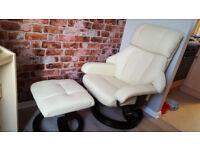 Recliner Massage Armchair & Stool 10 Point Massage Heat Function