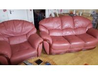 Pink Leather Sofa and Armchair, good condition