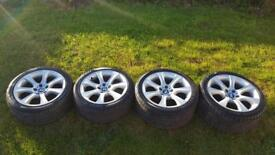 """Set of genuine BMW 5 series E60 18"""" alloy wheels with tyres"""