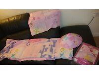 Used girls princess single bedding set ,lamp shade and umbrella