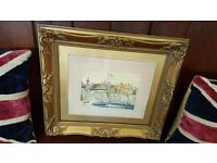 antique watercolour painting by John Valentine of Cullercoats bay