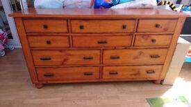 Solid wood dresser, drawers & bedside table