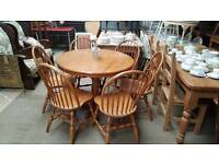 Round solid wood table and chairs