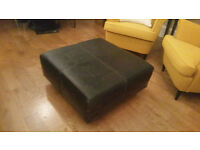 footstool: large square, brown leather