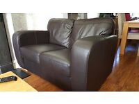 2 Chocolate Brown Leather Sofas, 3 seater & 2 seater