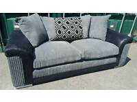 EX DISPLAY New 3 Seater Grey Jumbo Cord Designer Sofa DELIVERY AVAILABLE