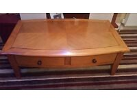 Large Pine Coffee Table 2 drawers with matching Side Table