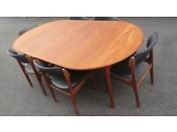 DANISH RETRO TEAK EXTENDING DINING TABLE WITH CHAIRS VINTAGE 1960's