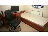 Single bed, desk & office chair and bookcase