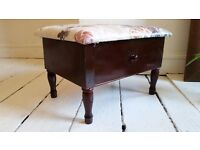 Vintage embroidered seat wooden leg foot stool with drawer