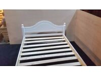 Veresi Bed Frame 4ft Small Double White seconds in solid pine- £84.99 - Local delivery possible