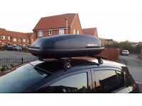 Hapro 350 Roof Box (300ltr) with Cruz Premium Roof Bars & fittings + 3 sets of safety straps