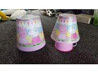 Peppa pig light shade and bedside lamp.