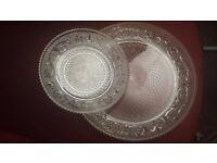 CRYSTAL GLASS DINNER PLATE SET