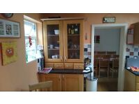 Oak kitchen display cabinets