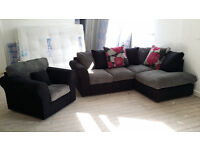 NEW Grey Jumbo Cord Fabric Corner Sofa Suite and Chair Local Delivery Available