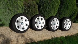 BMW 1 Winter wheels run flat tyres and trims set of 4 genuine BMW supplied