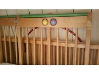 Mothercare wooden cot (already part-dismantled) plus mattress