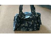 Handbag small blue with white flowers from New Look