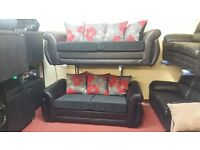 BUY SHANNON RED AND GREY FLORAL CUSHION 3 SEATER £399 PLUS 2 SEATER FREE !! BRAND NEW HAND MADE SOFA