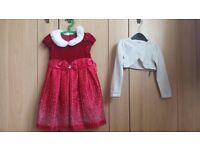 Girls party/christmas dress and cardigan set 3-4ys