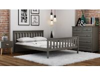 Grey Double Size King Wooden Bed Frame 4ft 4ft6 5ft with slats Solid Pine Wood